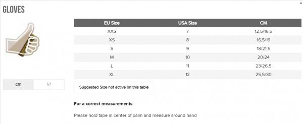 OMP gloves size chart